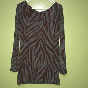 Off the shoulder gray and brown zebra print top